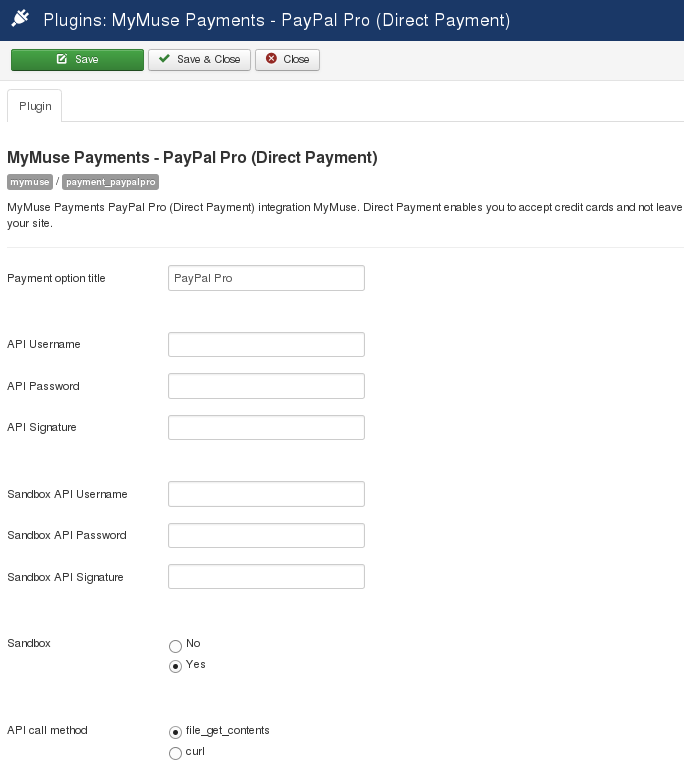 plugin payment paypalpro