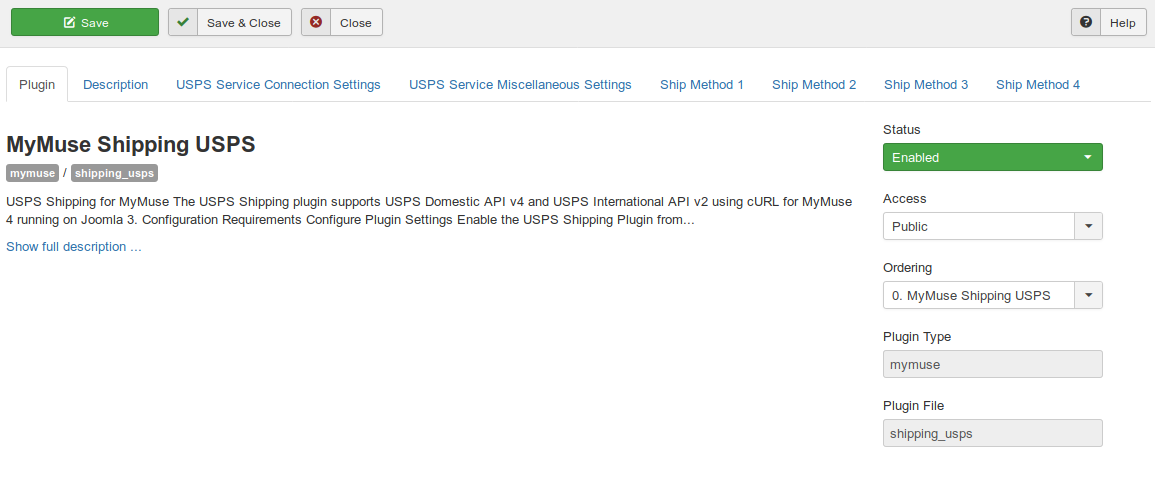 Plugins MyMuse Shipping USPS   Plugin   Administration