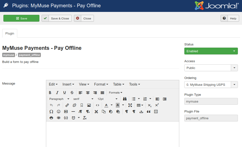 Plugins Payments   Pay Offline   Administration