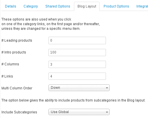 category blog options